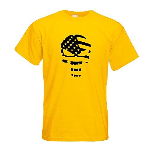 KIWISTAR - US Punisher Skull T-Shirt in 15 verschiedenen Farben - Herren Funshirt bedruckt Design Sprüche Spruch Motive Oberteil Baumwolle Print Größe S M L XL XXL Gelb