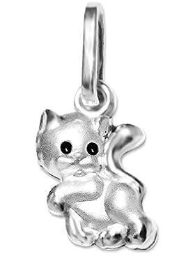 CLEVER SCHMUCK Silberner Anhänger Mini Katze 8 mm mit schwarzen Augen, seidenmatt, teils glänzend STERLING SILBER...