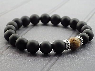 Bracelet pour homme en perles d'Agate et perle en jaspe