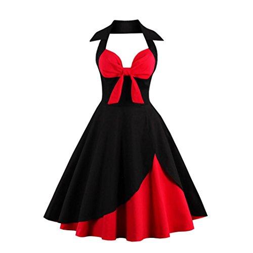 OVERDOSE Damen Vintage Reizvolles Neckholder Rockabilly 50er Vintage Retro Kleid Petticoat Faltenrock Schwingen Kleid (A-Schwarz,EU-34/CN-S)