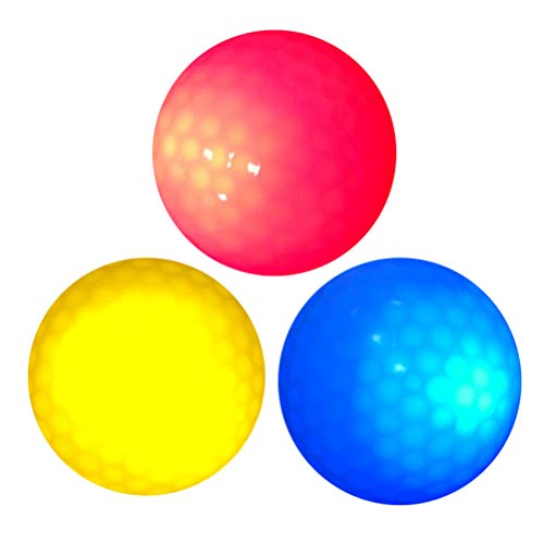 VORCOOL 3 Stück LED Golfbälle Leuchtend Golf Trainingsbälle Übungsbälle für Nacht Training