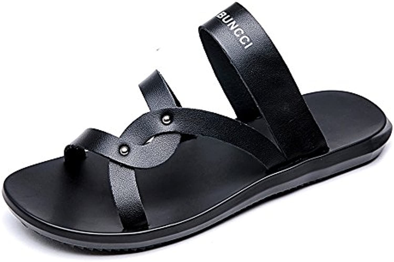 LLPSH Männer Casual Thong Flip Flops Strand Hausschuhe Aus Echtem Leder Schuhe Rutschfeste Weiche Flache SandalenLLPSH Männer Hausschuhe Rutschfeste Sandalen