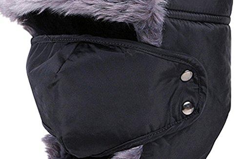 Panegy Unisexe Chapeau Chapka en Fausse Fourrure Cagoule de Ski Hiver Polaire Fourrure Moto/Vélo/VTT Protection Visage Oreilles Tour de tête 58CM - 6 couleurs Noir