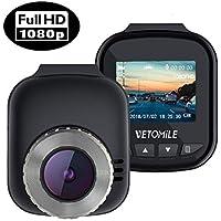 VETOMILE Mini Cámara de Coche 1080P Full HD Car Dash CAM Gran Ángulo DVR Grabadora Vídeo de G-Sensor, Color Negro