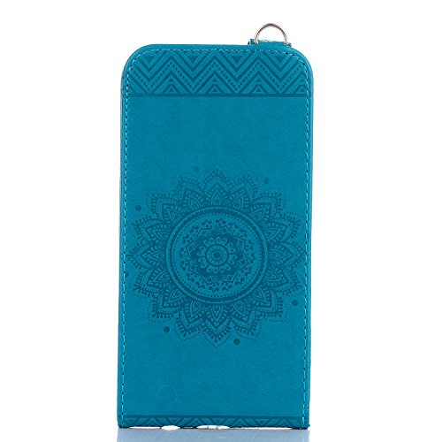 Samsung Galaxy S7 Hülle Leder Tasche Flip Cover Galaxy S7 Wallet Case Alfort Stilvoll Handycover Lavendel Mandala Blumen Muster PU Ledercase Brieftasche Handyhülle für Samsung Galaxy S7 Schutzhülle Ha Blau