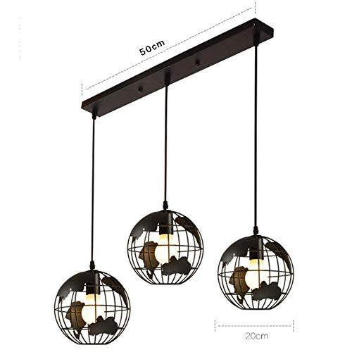 3 Light Earth Globe Karte Kronleuchter, industrielle Vintage Eisen Schmiedekugel Scheune Anhänger Lampenschirm für Loft Schlafzimmer Büro geometrische Lampe, 3 Köpfe, Longplate -
