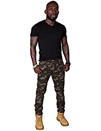 Pantalons pour hommes skinny - Camouflage Vert Pantalon Cargo Pantalon Homme pan SKINNYCAMOFOREST