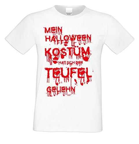 Mein Halloween Kostüm hat sich der Teufel geliehn ::: Lustiges Fun-Sprüche-T-Shirt für Herren Teenager Party-Outfit-Bekleidung auch Übergrößen Farbe: weiss Weiß