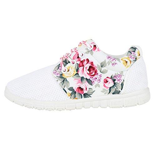 Damen Sportschuhe | Übergrößen | Trendfarben Runners | Sneakers Laufschuhe | Fitness Prints Weiss Pink Blumen