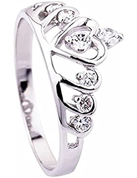 Skyllc® Mode Sterling Silber Herz-Prinzessin Crown Ehering