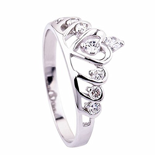 Skyllc® Moda Sterling Silver Cuore Princess Crown Wedding Ring