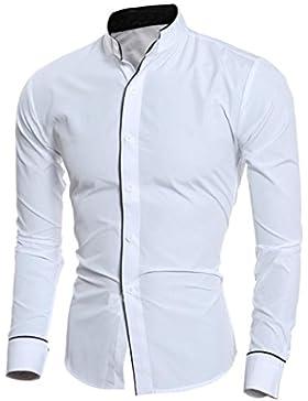 Amlaiworld Autunno New Stand-collare personalità uomini Slim manica lunga camicia