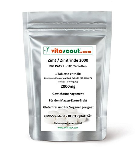 180 Tabletten Zimt / Zimtrinde Extrakt - 2000 - HÖCHSTE DOSIERUNG - PN: 010172