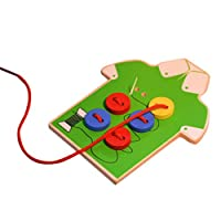 Winkey Baby Toy, Children Beads Lacing Board Wooden Toys Toddler Sew On Buttons Early Education Teaching Aids (Green)