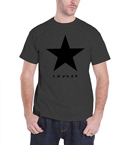 David Bowie T Shirt Blackstar Band Logo offiziell Herren Nue Charcoal Grau