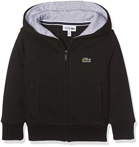 Lacoste Jungen Kapuzen Sweatshirt Jacke, Schwarz (Noir/Argent Chine), 16 Jahre (Herstellergröße: 16A)