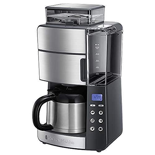 Russell Hobbs Kaffeemaschine mit Mahlwerk, Thermokanne 10 Tassen, digitaler programmierbarer Timer, 3-stufige Mahlgradeinstellung, 1000W, Filterkaffeemaschine für Kaffeebohnen Grind&Brew 25620-56