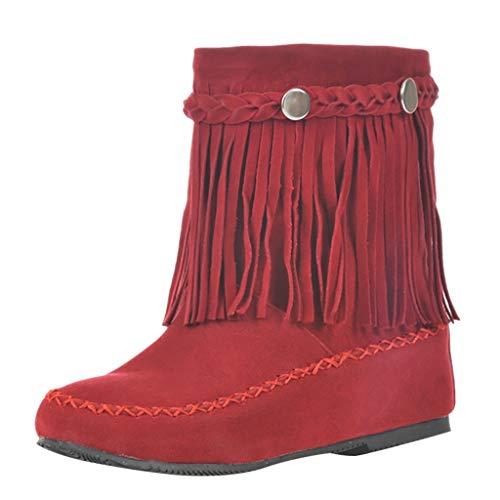serliyDamen Keilabsatz Ankle Boots High Heels Stiefeletten mit Fransen 4cm Absatz Elegant Schuhe Retro Stiefeletten mit Fransen Nieten Casual Short Ankle Boots Schuhe -