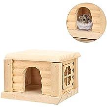 G-wukeer Hamster House, Casa de Madera Hut con Hamster o Gerbil Hamster Cama
