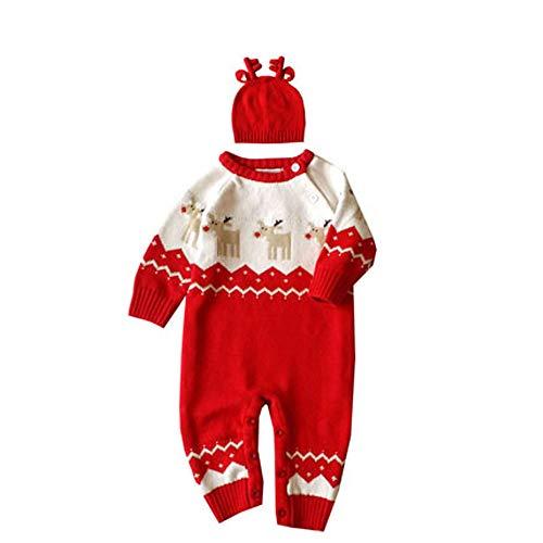 QSEFT Baby Weihnachten Kostüm 2 Stück Jungen Stricken Langarm Gestreiften Roten Nase Rentier Overall,Red,90Cm