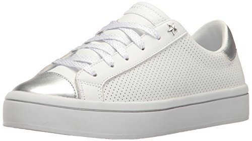 Skechers Street Sweet-Step On It, Zapatillas para Mujer, Blanco (White Leather/Sivler Durapatent Leather Trim), 40 EU