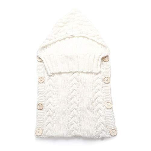 Saco de dormir para bebés recién nacidos Fibras acrílicas Sudaderas con capucha Swaddle Wrap Grueso cálido bebé Estera de dormir Manta Swaddling Sweater - Blanco