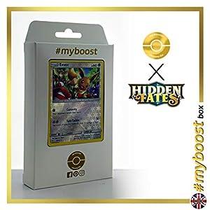 Eevee 48/68 Holo Reverse - #myboost X Sun & Moon 11.5 Hidden Fates - Box de 10 cartas Pokémon Inglesas