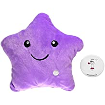 Starcafter Colorido LED Estrella la estrella de luz Almohada Cojín Relax Decoraciones Para El Hogar con Para Viajes,Acampar,Cojín Suave (Púrpura)
