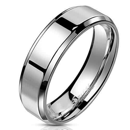 Bungsa® 54 (17.2) Edelstahl Ring mit schrägem Rand hochglanzpoliert Silber Schmuckring für Damen und Herren (Ring Damen Fingerring Partnerringe Verlobungsringe Trauringe Damenring Chirurgenstahl)