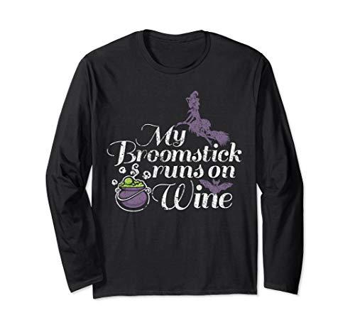 My Besen Läuft auf Wine Grunge Halloween Damen Hexe Langarmshirt