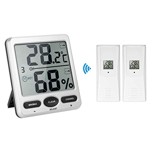 Ben-gi 1 bis 2 Thermometer Humidometer Konsole Receiver Wireless Digital Thermo-Hygrometer Remote Sensor Emitter Humidore