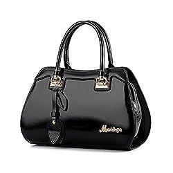 Tisdaini® Damenhandtaschen Mode Schultertaschen Lackleder Shopper Umhängetaschen Schwarz