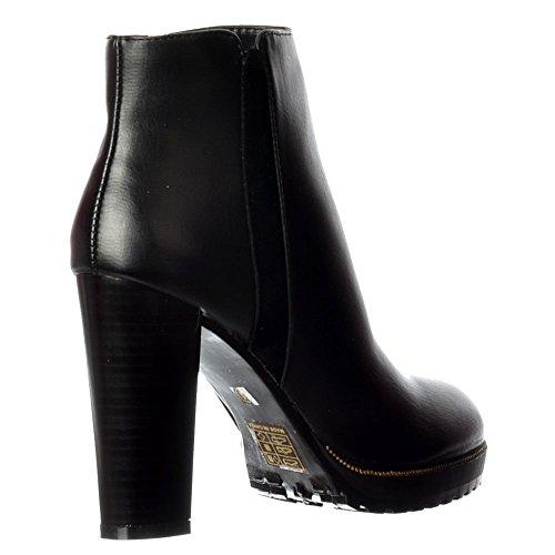 L'oro Delle Donne Onlineshoe Borchie Metà Blocco Tallone Ankle Boot - Nero, Tan, Borgogna Nero