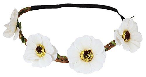Blumen Haarband mit Anemonen - Creme Weiß