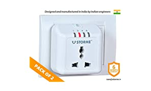 STORME Polycarbonate Timer Automatic Power Cut-Off Socket (White) Pack of 2