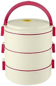 Cello Senate Plastic Lunch Box Set, Set of 3, Red