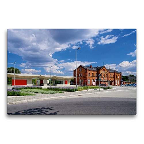 CALVENDO Premium Lienzo 75 cm x 50 cm Horizontal, estación de Tren, Imagen sobre Bastidor, Lienzo de auténtica, impresión en Lienzo: Spremberg Orte Orte