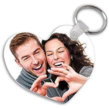 Llavero de metacrilato en forma de corazón personalizado con tu foto