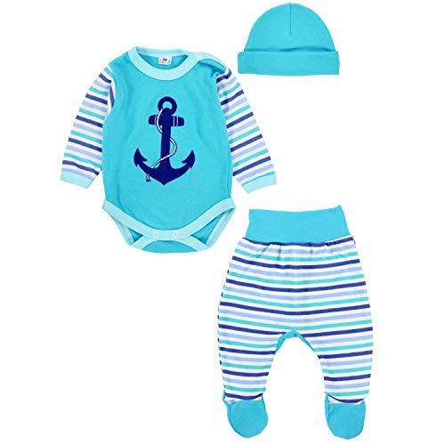 TupTam Baby Jungen Bekleidungsset mit Anker Aufdruck 3er Set, Farbe: Türkis, Größe: 62