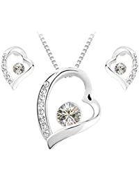 Schmuck Set Herz und Seele Anhänger Halskette + Gestüt Ohrring Runde geformte Swarovski Kristallklar kristalle