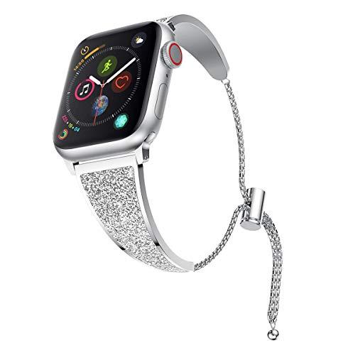 YaYuu Compatible pour iWatch 38mm Bracelet Réglable Glitter Sangle en Acier Inoxydable Métal Remplacement De Mode Chaîne Femmes Bracelet pour Apple Watch Série 4,3,2,1