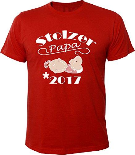 Mister Merchandise Herren Men T-Shirt Stolzer Papa - 2017 Tee Shirt bedruckt Rot