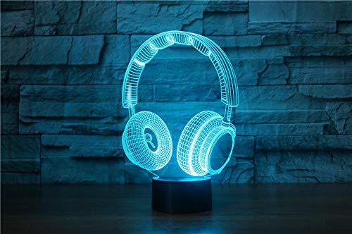 3D LED veilleuse dynamique musique écouteurs action figure 7 couleur tactile illusion d'optique lampe de table modèle de décoration de la maison
