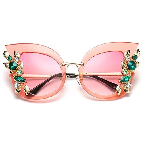 Damen Diamond Sonnenbrille Rosennie Europa Mode Retro Classic Cat Eye Glitzernd Blumen Sunglasses Frauen Brillen Damenmode Künstliche Diamant Katze Ohr Metallrahmen Marke Klassische Sonnenbrille (B)