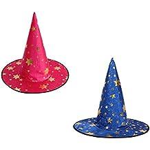 Sharplace 2 Piezas de Sombrero Gorros de Brujas Mago con Estrellas Dorado  Ropa para Halloween de 2c0080fc4cc