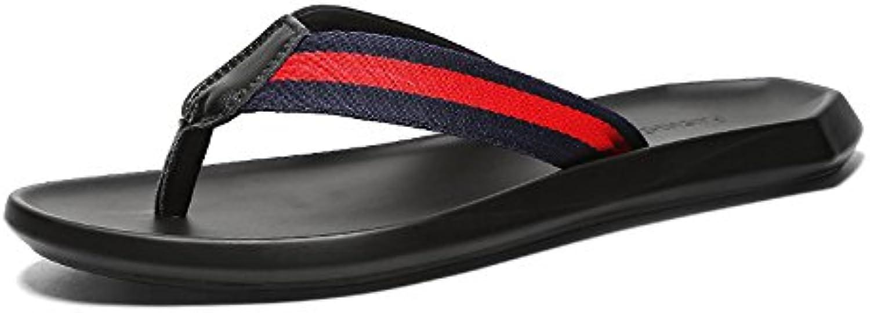 LLPSH Männer Casual Flip Flops Strand Sandalen Komfort Thongs Echtes Leder Rutschfeste Soft Flachen Sandalen Schwarz