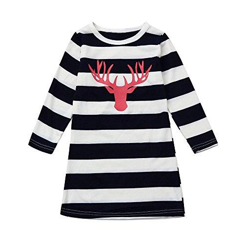Merry Christmas Piebo Damen Mama mit Tochter Niedlich Elche Muster Weihnachten miniKleid Mode...