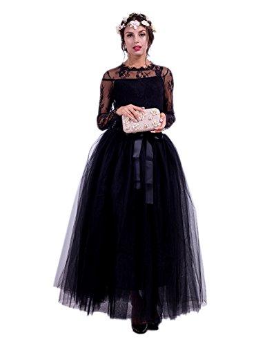 Honeystore Damen's Tüllrock Lang 5 Layer Prinzessin Kleider Lang Petticoat Ballettrock Maxi Unterrock Pettiskirt Lang One Size Schwarz