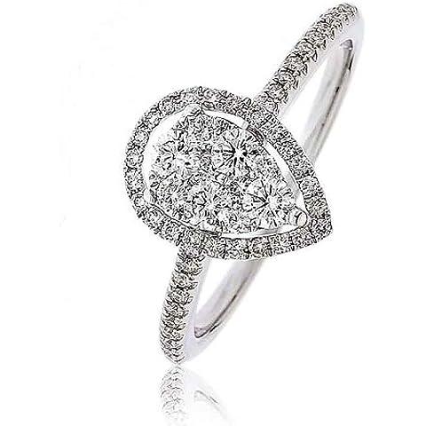 0.50ct Certificato G/VS2Micro Set Pera con forma di pera Halo Diamante Anello con diamanti sulle spalle in Oro Bianco