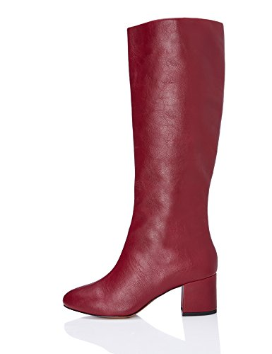 FIND Damen Absatzstiefel in Leder-Optik, Rot (Dk Red), 36 EU (Damen Slip-on Schuh Leder)